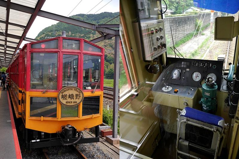 嵯峨野观光小火车往龟冈方向车厢头部的车辆控制室