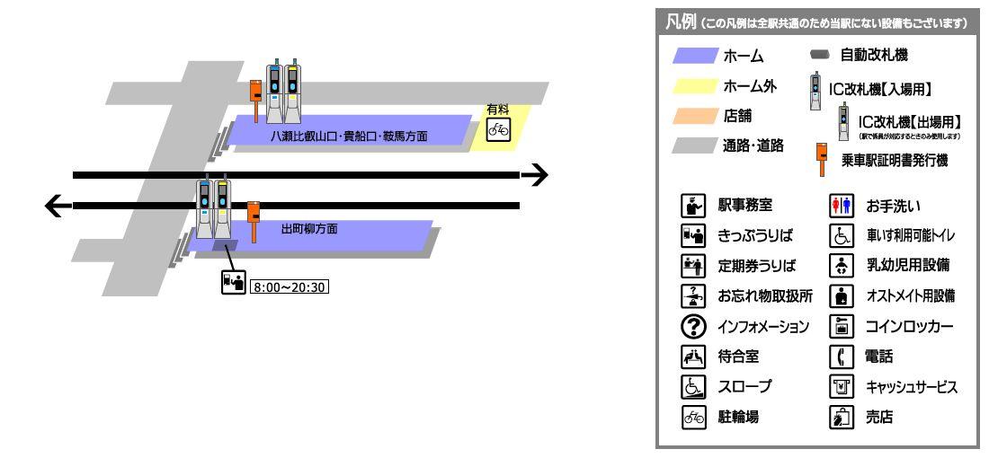 叡山电铁茶山站平面示意图