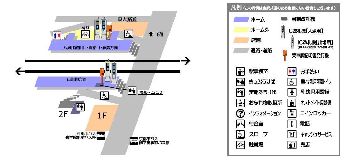 叡山电铁修学院站平面示意图