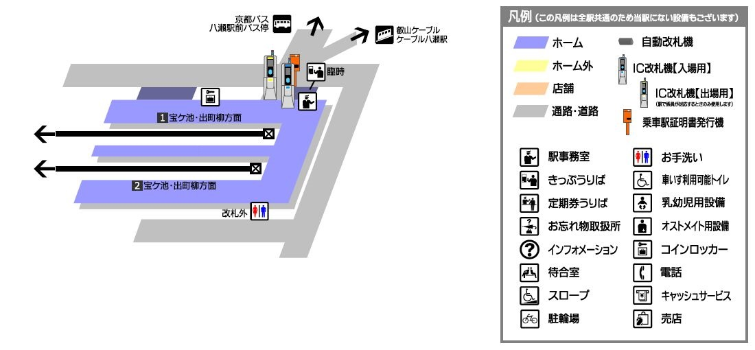 叡山电铁八濑比叡山口站平面示意图