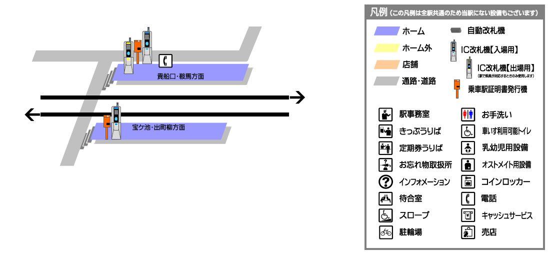 叡山电铁木野站平面示意图
