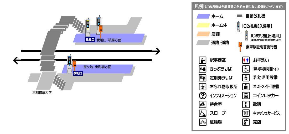 叡山电铁京都精华大前站平面示意图