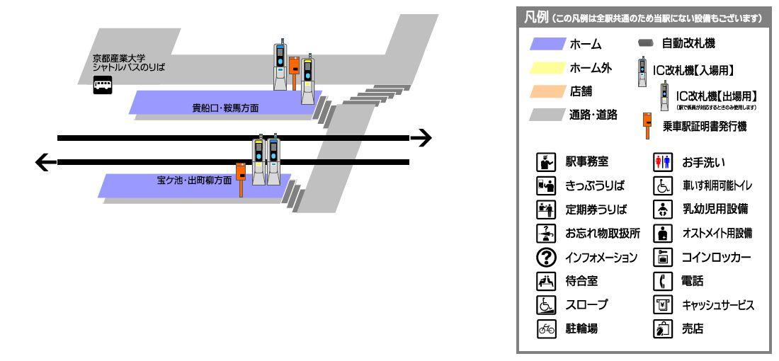 叡山电铁二轩茶屋站平面示意图