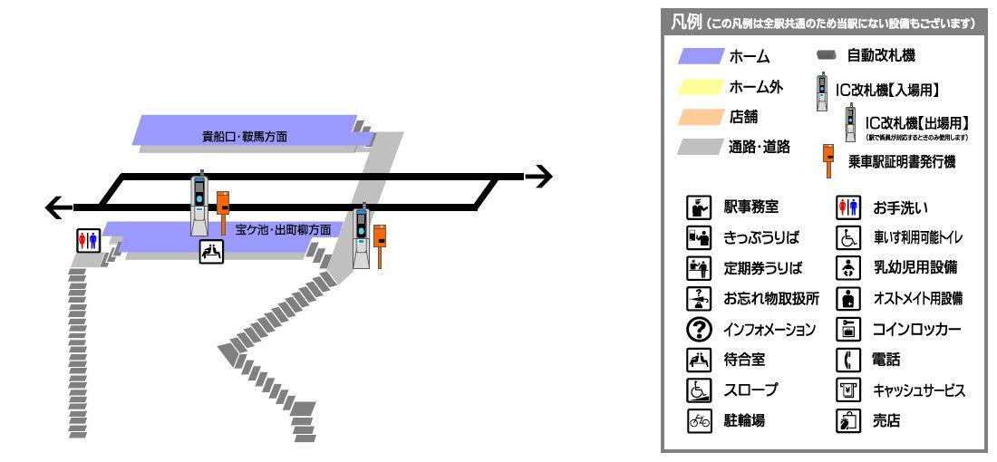 叡山电铁二之瀬站平面示意图