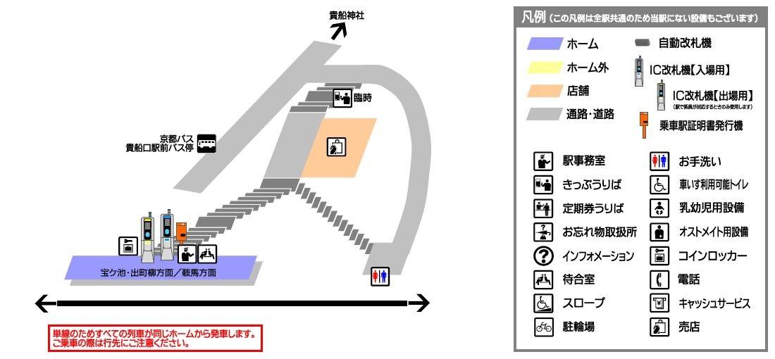 叡山电铁贵船口站平面示意图
