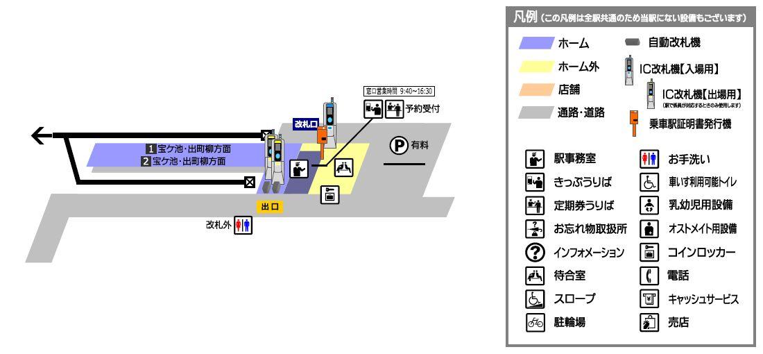 叡山电铁鞍马站平面示意图
