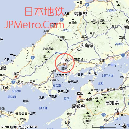 广岛市区位图