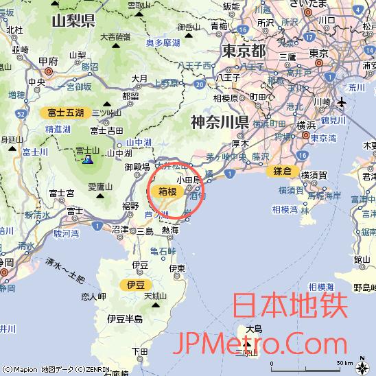 箱根在神奈川县大致区位