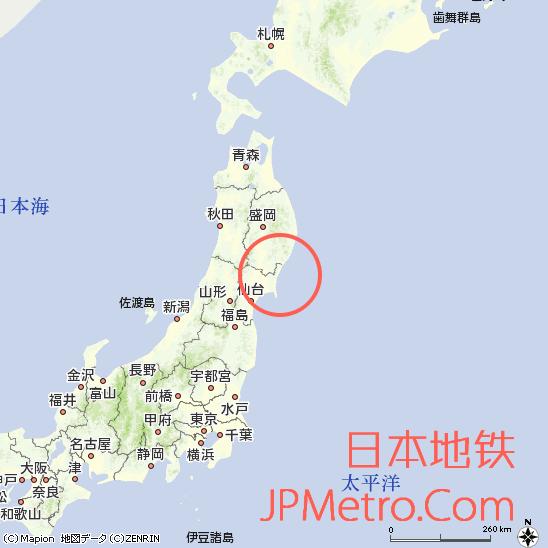 大船渡线与气仙沼线在日本大致区位