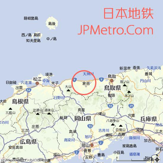 由良站在鸟取县的大致区位