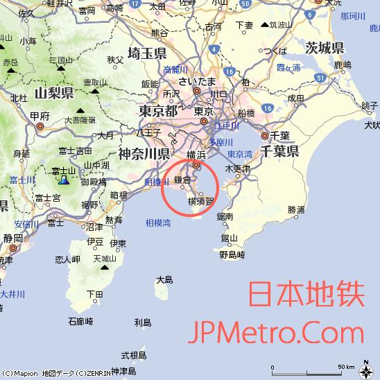 神武寺站在神奈川县大致区位