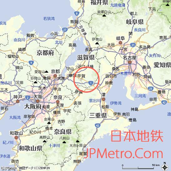 油日站在滋贺县大致区位