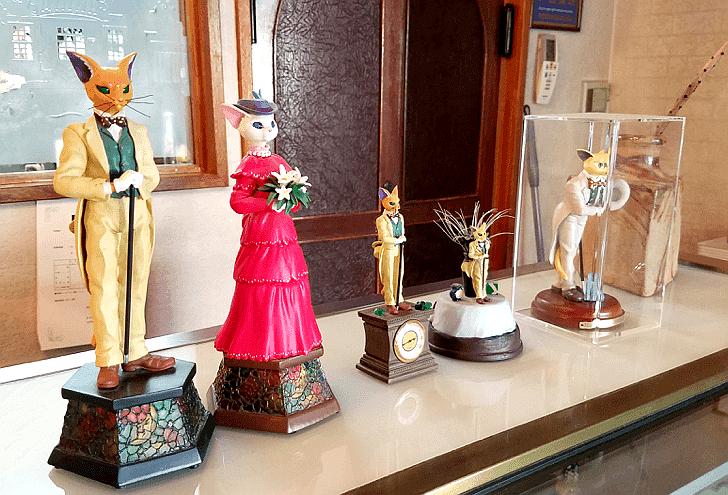 圣迹樱丘站附近的樱丘山顶的诺亚西饼屋店内的猫公爵模型