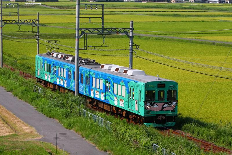 一列运行在比土~上林区间的绿色忍者列车