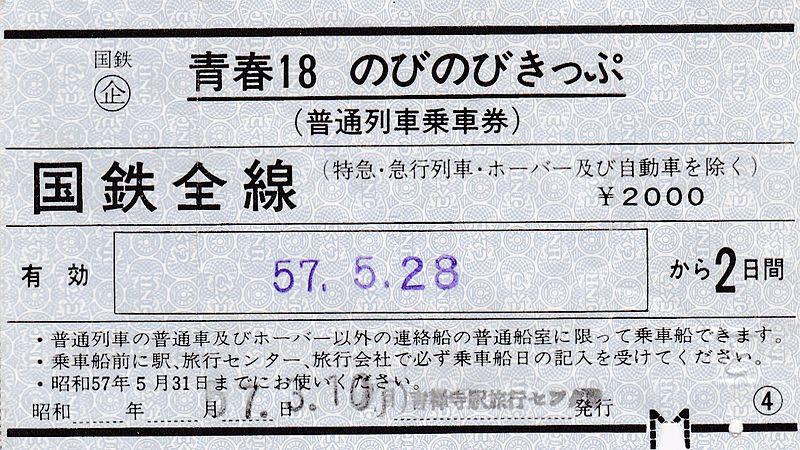 1982年发行的青春18无忧通票中的2日票