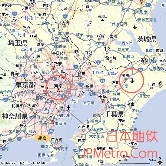 成田机场在千叶县大致区位