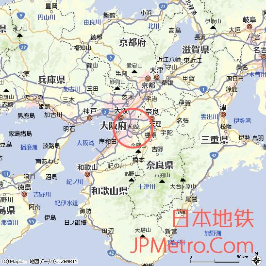 道明寺站在大阪府大致区位