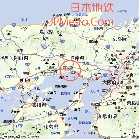 姬路在日本兵库县的大致区位
