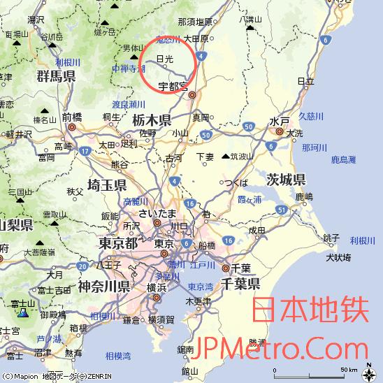 日光站在日本栃木县的大致区位