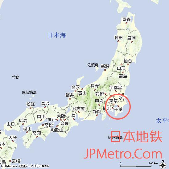 千叶单轨在日本的大致区域