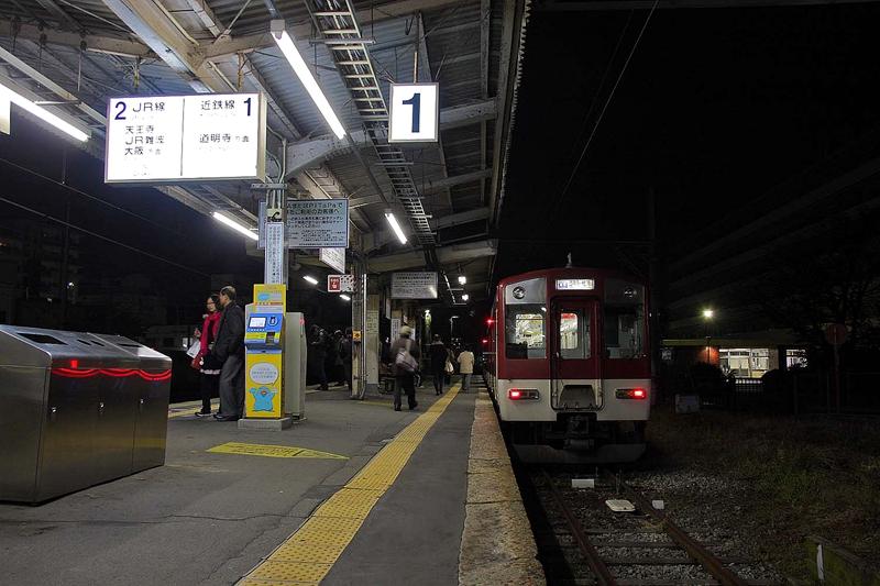 停靠在1号站台的道明寺线列车
