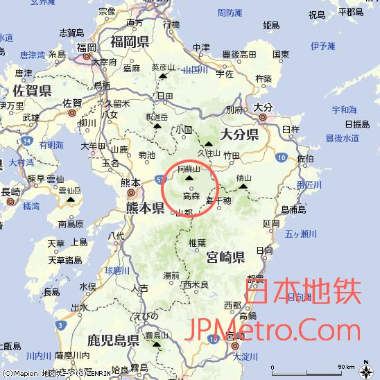 见晴台站在日本九州大致区位