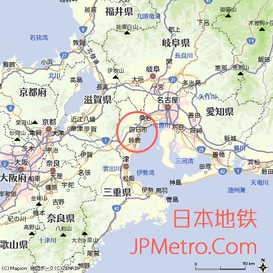 明日狭轨铁道在日本中部三重县大致区位