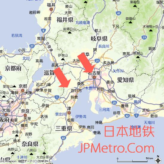 足汤列车起始站点在日本中部的大致区位