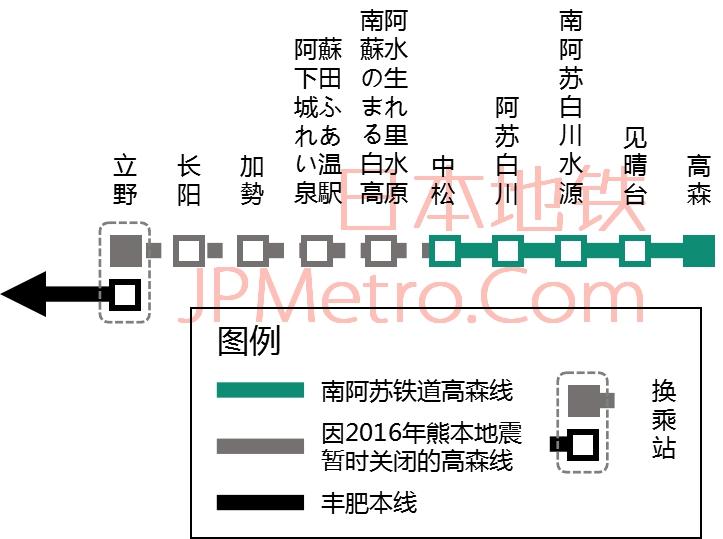南阿苏铁道高森线线路图