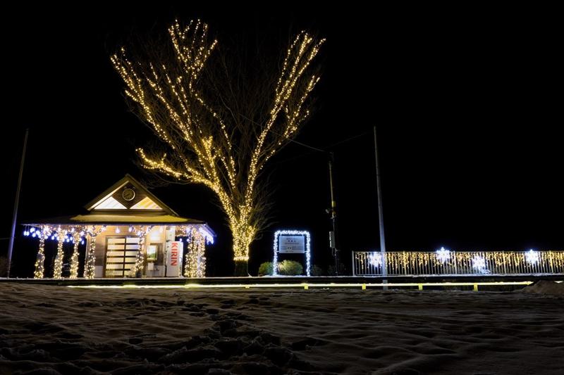 2018年1月期间,见晴台站特意装饰的夜晚灯光秀