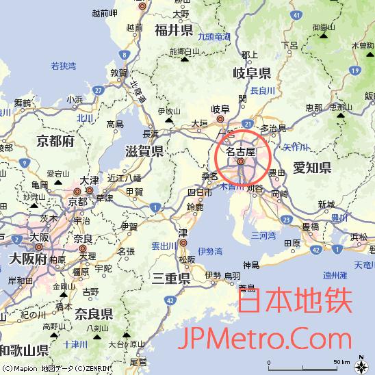 名古屋在日本中部爱知县大致区位