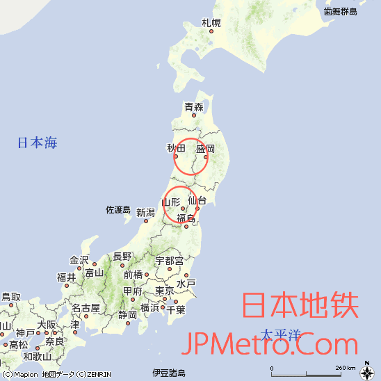 山形迷你新干线和秋田迷你新干线在日本大致区位