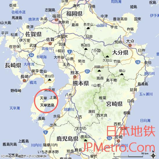 天草市在日本九州大致区位
