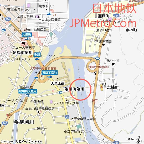 本渡濑户行人桥周边地图