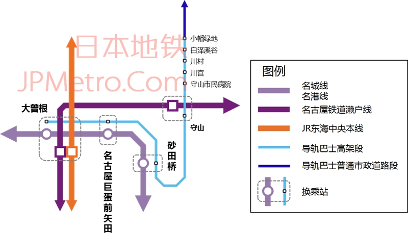 名古屋导轨巴士志段味线线路图