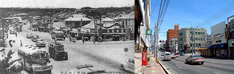 冲绳コザ十字路道路方向切换前后对比