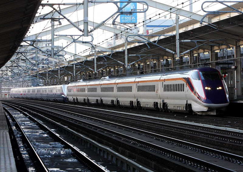 停靠在东北新干线郡山站的一列由迷你新干线和标准新干线重联组成的列车