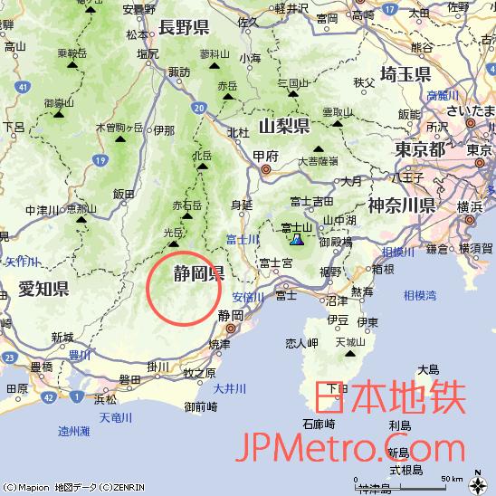 奥大井湖上站在静冈县大致区位