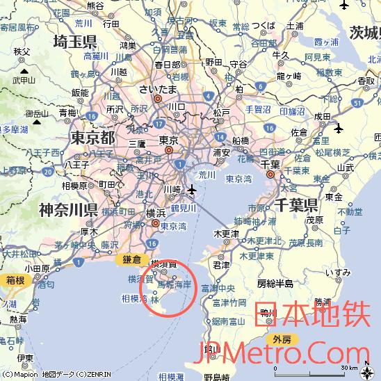 京急久里浜站在神奈川县的大致区位