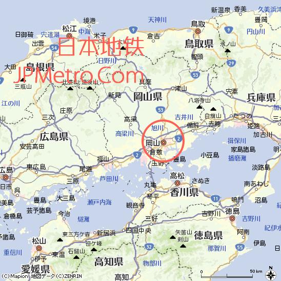 冈山在日本大致区位