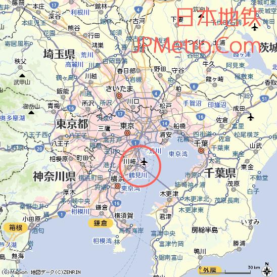 羽田机场在东京大致区位