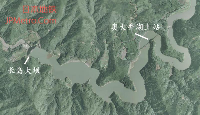 奥大井湖上站周边卫星图
