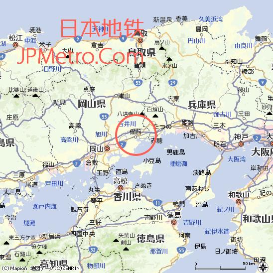 备前在日本冈山县大致区位