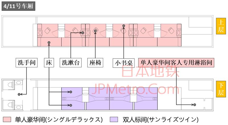 日出濑户列车4号车厢平面示意图