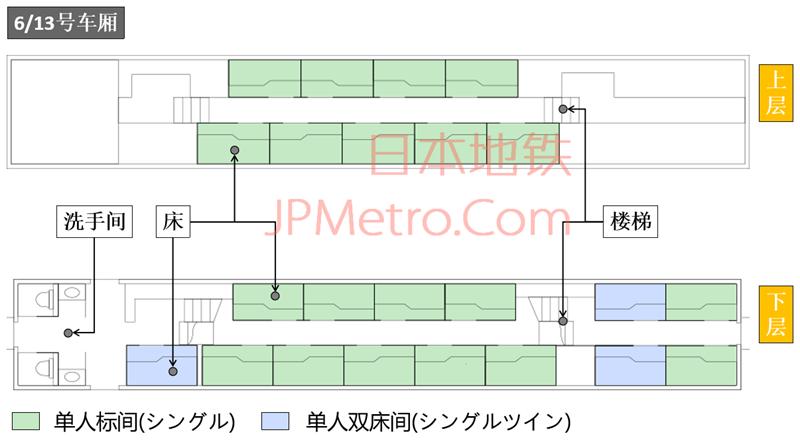日出濑户列车6号车厢平面示意图