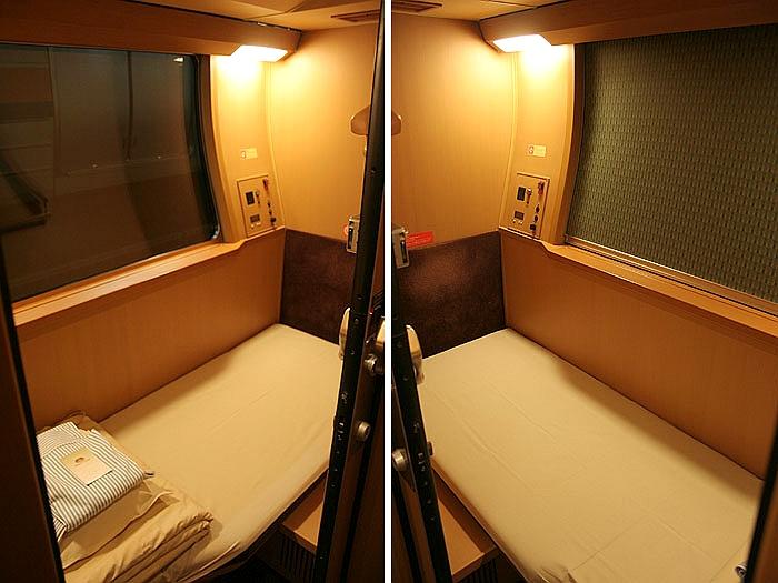 日出濑户列车位于车厢下层的单人标间