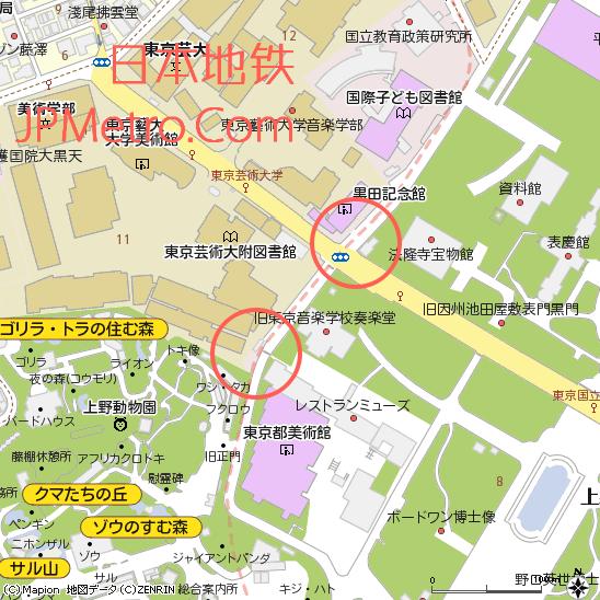 原博物馆动物园站的两个地面出入口以及周边地图