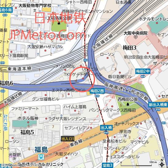 门塔大厦以及从中穿过的阪神高速