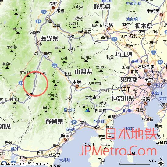 田切站在长野县大致区位
