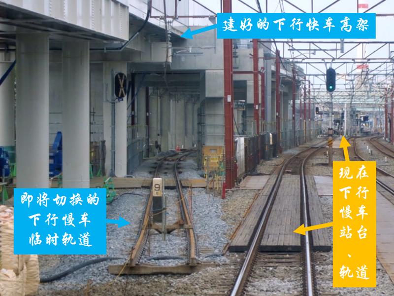 过渡时期的下行慢车临时轨道只能建在下行快车高架之下